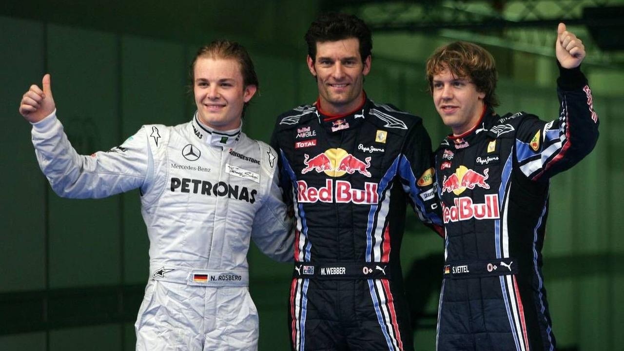 Nico Rosberg (GER), Mercedes GP, Mark Webber (AUS), Red Bull Racing and Sebastian Vettel (GER), Red Bull Racing - Formula 1 World Championship, Rd 3, Malaysian Grand Prix, Saturday Qualifying