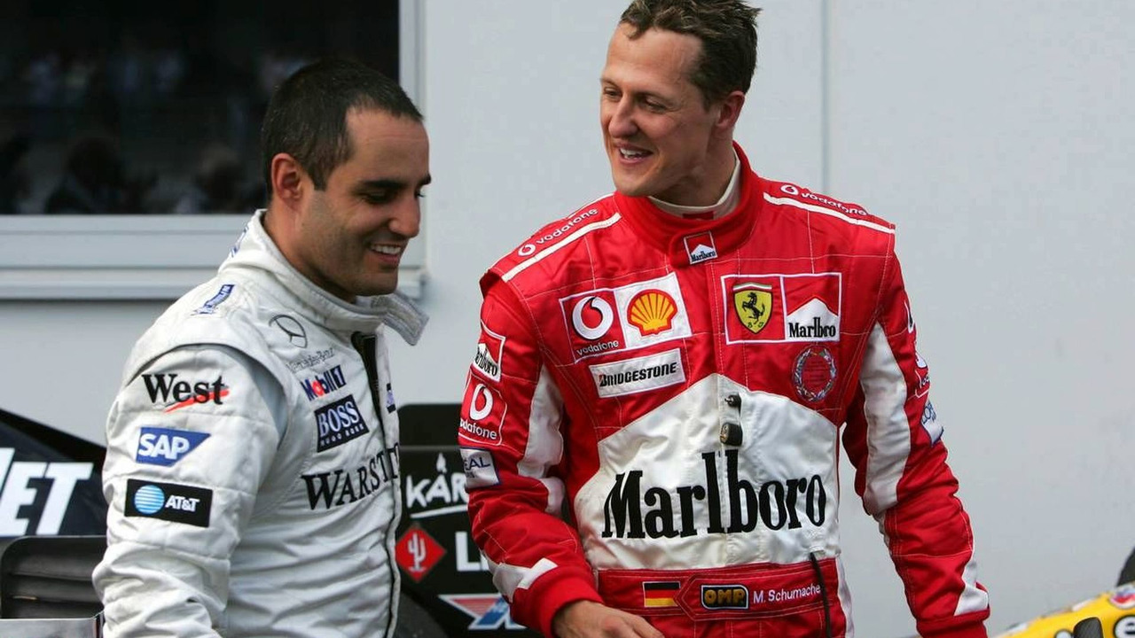 Michael Schumacher talking with Juan-Pablo Montoya, European Grand Prix, Nürburgring 29.05.2005