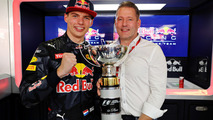 Max Verstappen, Red Bull Racing celebrates his first F1 win with father Jos Verstappen
