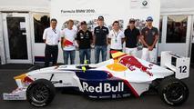 Formula 1 drivers with Dr. Mario Theissen (GER), Sebastian Vettel (GER), Timo Glock (GER),Nico Hulkenberg (GER), Christian Klien (AUT), Sebastien Buemi (SUI), Bruno Senna (BRA), Formula BMW Europe 2010, 11.09.2010 Monza, Italy
