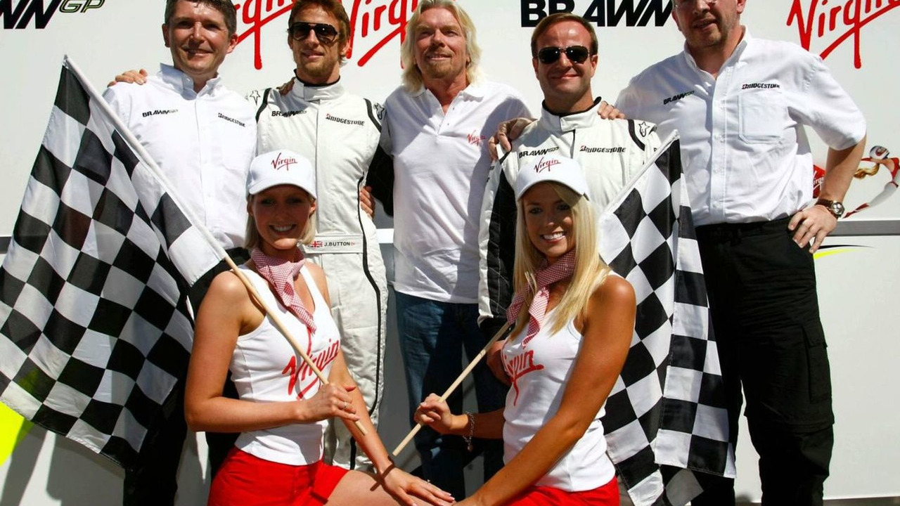 Nick Fry (GBR), Jenson Button (GBR), Sir Richard Branson (GBR), Rubens Barrichello (BRA), Ross Brawn (GBR), Virgin girls, Australian Grand Prix, Saturday, Melbourne, Australia, 28.03.2009