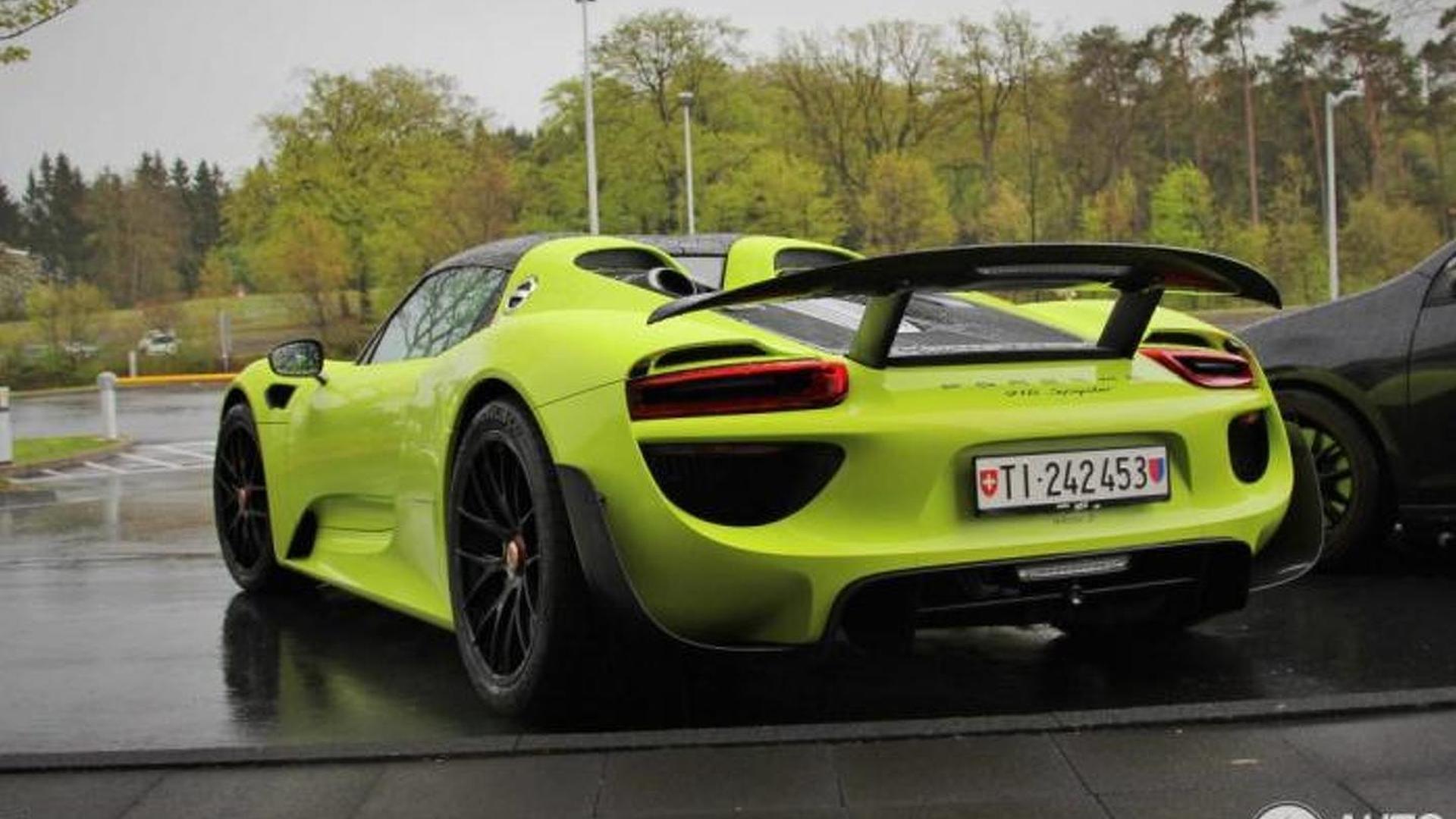 2015-566128-lime-green-porsche-918-spyder-weissach1 Gorgeous Porsche 918 Spyder Acid Green Cars Trend