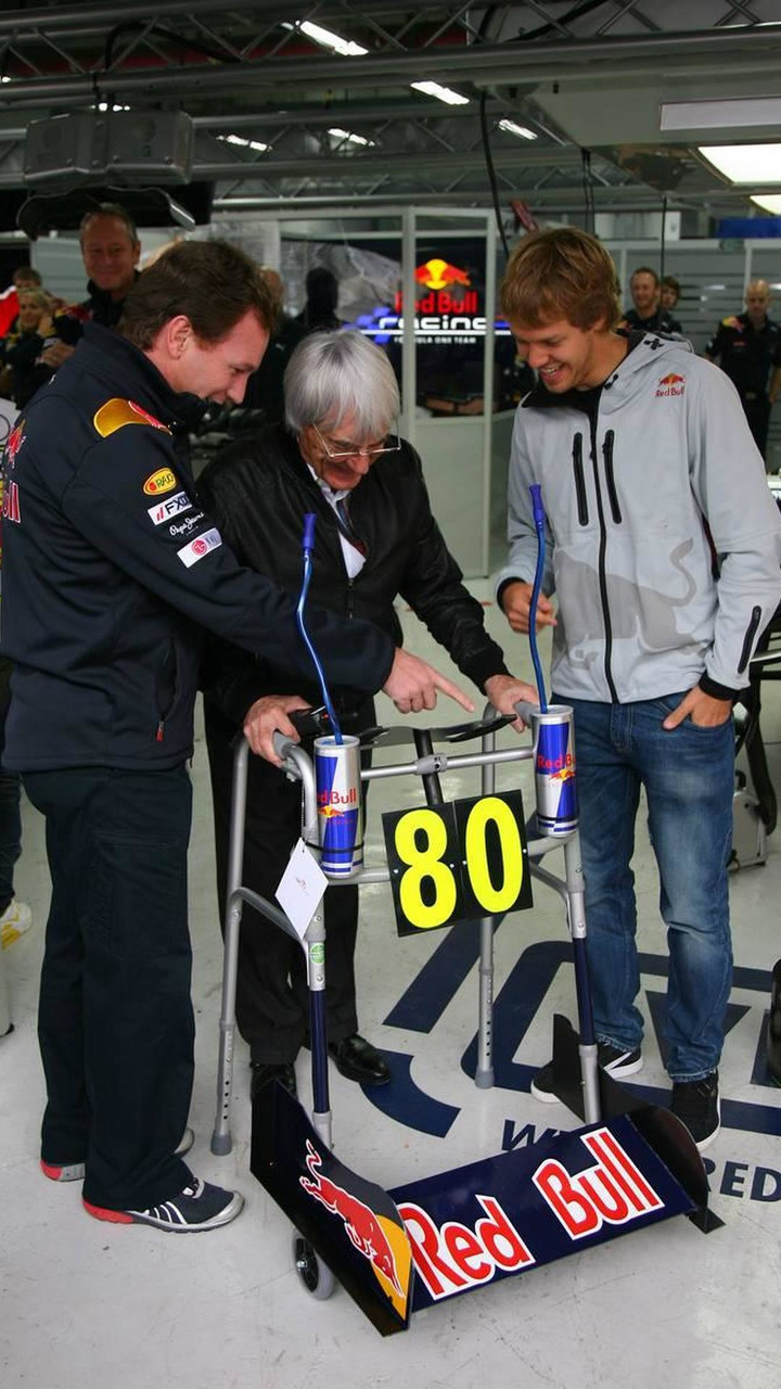 Bernie Ecclestone (GBR) turns 80 next week and for a special birthday present the Red Bull team have given him a Zimmer frame with Sebastian Vettel (GER), and Christian Horner (GBR), Formula 1 World Championship, Rd 17, Korean Grand Prix, 24.10.2010 Yeong