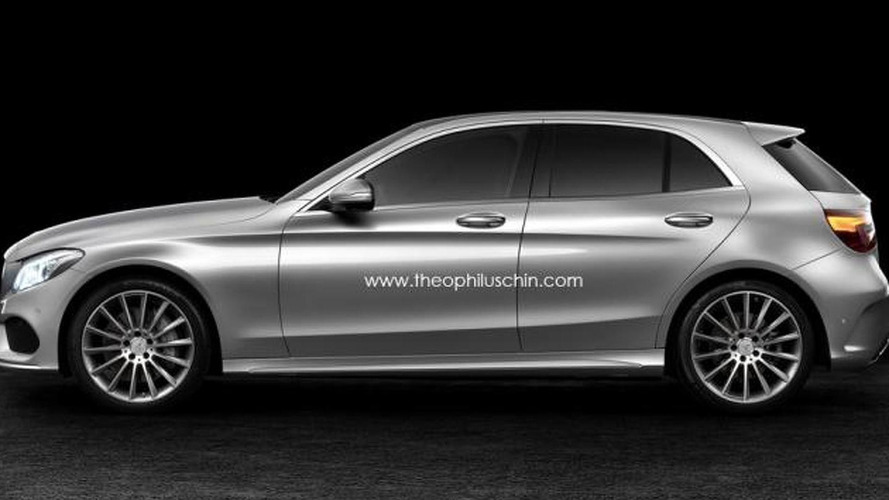 2014 Mercedes-Benz C-Class digitally illustrated as a hatchback
