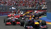 Start of the race, Lewis Hamilton (GBR), McLaren Mercedes and Sebastian Vettel (GER), Red Bull Racing, European Grand Prix, Sunday Race, 27.06.2010 Valencia, Spain